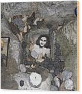 Portrait Of Anne Frank At The Children's Memorial At The Jewish Cemetery In Warshau Poland Wood Print