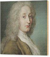 Portrait Of Antoine Watteau 1684-1721 Pastel On Paper Wood Print