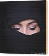 Portrait Of Beautiful Arab Woman Wearing Black Scarf Wood Print