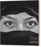 Portrait Of Beautiful Arab Woman Wearing Black Scarf In Black An Wood Print