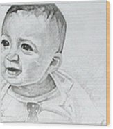 Portrait Of Ben Pencil Drawing Wood Print