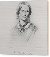 Portrait Of Charlotte Bronte, Engraved Wood Print by George Richmond