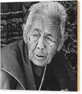 Portrait Of Elderly Woman Wood Print
