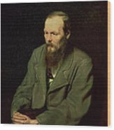 Portrait Of Fyodor Dostoyevsky Wood Print