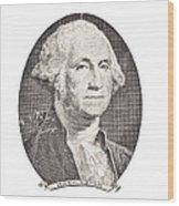 Portrait Of George Washington On White Background Wood Print