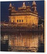 Portrait Of Golden Temple At Night Wood Print