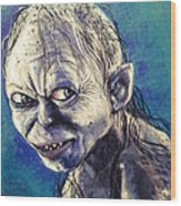 Portrait Of Gollum Wood Print