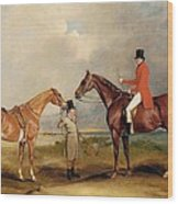 Portrait Of John Drummond On A Hunter With A Groom Holding His Second Horse Wood Print