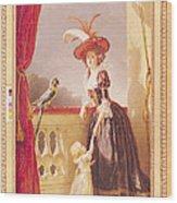 Portrait Of Louise-elisabeth De France 1727-59 Duchess Of Parma And Her Son Ferdinand 1751-1802 Wood Print