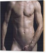 Portrait Of Man With Fit Naked Body Wood Print