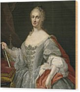 Portrait Of Maria Amalia Of Saxony As Queen Of Naples Overlooking The Neapolitan Crown Wood Print