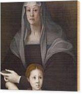 Portrait Of Maria Salviati De' Medici With Giulia De' Medici Wood Print
