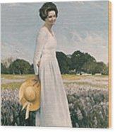 Portrait Of Mrs Lyndon B Johnson Wood Print by Mountain Dreams