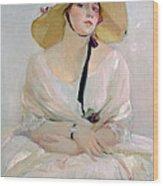 Portrait Of Raquel Meller Wood Print by Joaquin Sorolla y Bastida