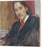 Portrait Of Robert Louis Stevenson 1850-1894 1886 Oil On Canvas Wood Print