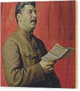 Portrait Of Stalin Wood Print