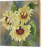 Portrait Of Sunflowers Wood Print