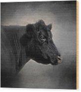 Portrait Of The Black Angus Wood Print