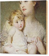 Portrait Of The Duchess Of St Albans With Her Son Wood Print
