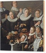 Portrait Of The Painter Andries Van Bochoven And His Family Wood Print