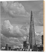 Portrait Of The Shard Black And White Version Wood Print