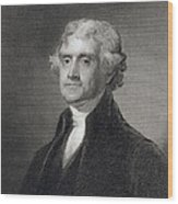 Portrait Of Thomas Jefferson Wood Print by Henry Bryan Hall