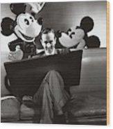 Portrait Of Walt Disney Sitting With Open Cartoon Wood Print