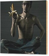 Portrait Of Young Man With Corn Cob Wood Print