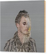 Portrait Of Young Man With Owl Overlay Wood Print