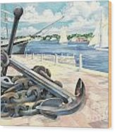 Portside Anchor Wood Print by Paul Brent