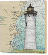 Portsmouth Harbor Lighthouse Nh Nautical Chart Map Art Wood Print