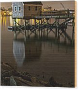 Portsmouth Harbor Night 1 Wood Print