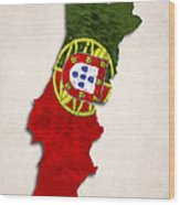 Portugal Map Art With Flag Design Wood Print
