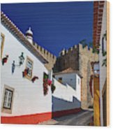 Portugal, Obidos, Street Of The Old Wood Print