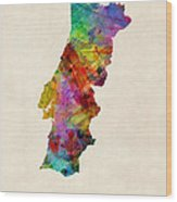 Portugal Watercolor Map Wood Print by Michael Tompsett