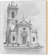 Portugese Church Pencil Portrait Wood Print