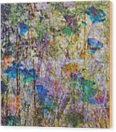 Posies In The Grass Wood Print
