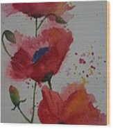 Positively Poppies Wood Print