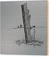 Post Line Wood Print