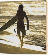Post Surf Gold Wood Print