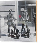Postal Workers On Scooters Wood Print