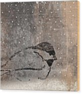 Postcard Chickadee In The Snow Wood Print