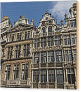 Postcard From Brussels - Grand Place Elegant Facades Wood Print