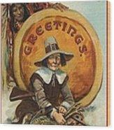 Postcard Of Pilgrim Plucking A Turkey Wood Print by American School