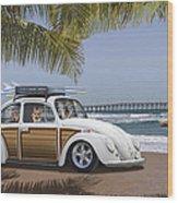 Postcards From Otis - Beach Corgis Wood Print