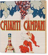 Poster Advertising Chianti Campani Wood Print by Necchi