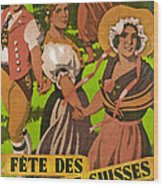 Poster Advertising F?te Des Costumes Wood Print