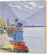 Poster Advertising Rail Travel Around Lake Geneva Wood Print