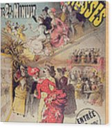 Poster Advertising The Montagnes Russes Roller Coaster Wood Print