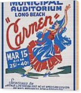 Poster For Production Of Carmen Wood Print